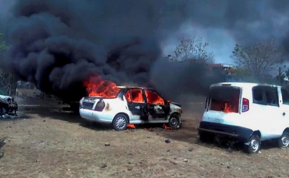 On the second day of protests, farmers in Sardarpur town setsix motorcycles on fire, stopped vehicles carrying foodgrains, and emptied milk containers on the roads. Agitating farmers also torched vehicles at the Bhopal-Indore highway in Dewas. PTI
