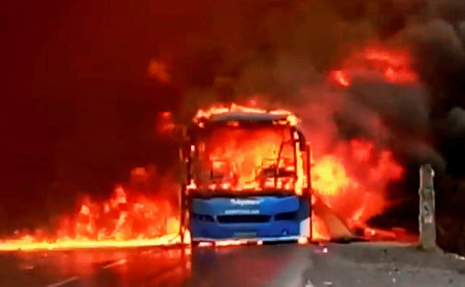 Abus was torched by farmers at the Bhopal-Indore highway. Chief minister Shivraj Singh Chouhan urged farmers to stop protesting, aftermany areas of the state faced shortage of milk and vegetables. PTI
