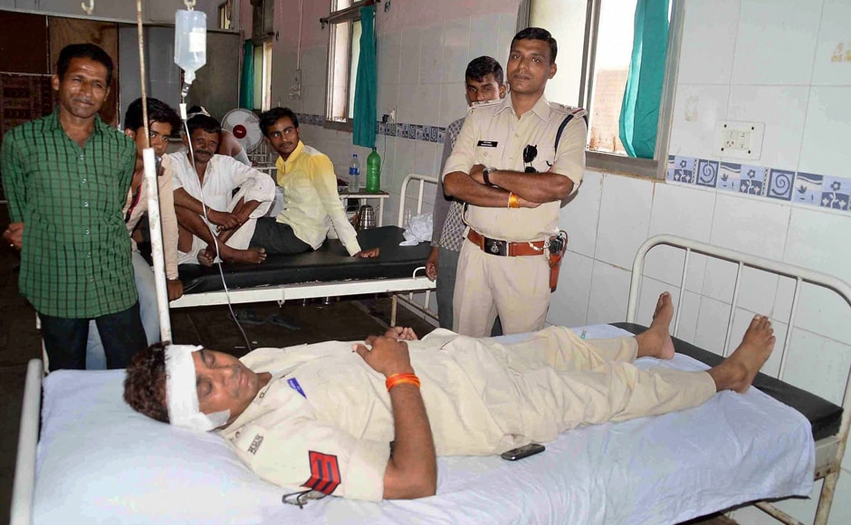 Injured policemen were being treated at a hospital in Ujjain after clashes with Congress workers and farmers on Wednesday. PTI