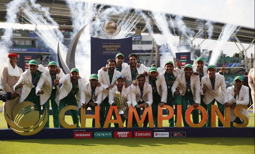 Pakistan celebrate winning the ICC Champions Trophy. Reuters