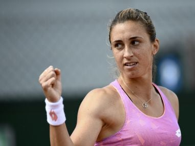 Petra Martic reacts after a point against Anastasija Sevastova during their match at French Open. AFP