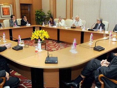 File image of prime-Minister Narendra-Modi in a meeting with the visiting-members of India-Singapore. PTI