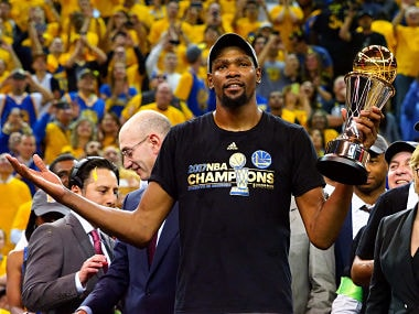 Jun 12, 2017; Oakland, CA, USA; Golden State Warriors forward Kevin Durant (35) celebrates after winning the NBA Fianls MVP in game five of the 2017 NBA Finals at Oracle Arena. Mandatory Credit: Kelley L Cox-USA TODAY Sports TPX IMAGES OF THE DAY - RTS16T3W