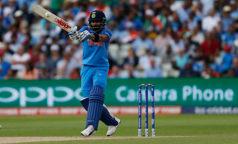 Britain Cricket - India v Bangladesh - 2017 ICC Champions Trophy Semi Final - Edgbaston - June 15, 2017 India's Virat Kohli reaches a half century Action Images via Reuters / Andrew Boyers Livepic EDITORIAL USE ONLY. - RTS17889