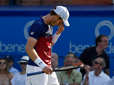 Britain's Andy Murray looks dejected during his first round match against Australia's Jordan Thompson. Reuters