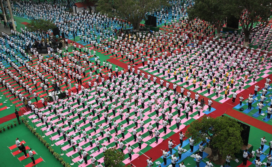 Over 55,000 people attended the yoga camp inaugurated by the prime minister. Reuters