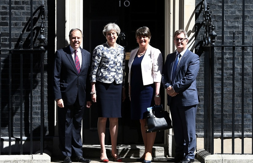 File image of Britain's prime minister Theresa May with Democratic Unionist Party Leader Arlene Foster. Reuters