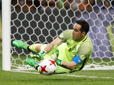 Soccer Football - Portugal v Chile - FIFA Confederations Cup Russia 2017 - Semi Final - Kazan Arena, Kazan, Russia - June 28, 2017 Chile's Claudio Bravo saves from Portugal's Nani to win the penalty shootout REUTERS/Carl Recine TPX IMAGES OF THE DAY - RTS1914P