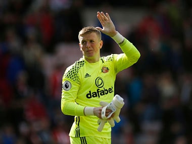 """Britain Football Soccer - Sunderland v Swansea City - Premier League - Stadium of Light - 13/5/17 Sunderland's Jordan Pickford acknowledges fans after the game Action Images via Reuters / Andrew Boyers Livepic EDITORIAL USE ONLY. No use with unauthorized audio, video, data, fixture lists, club/league logos or """"live"""" services. Online in-match use limited to 45 images, no video emulation. No use in betting, games or single club/league/player publications. Please contact your account representative for further details. - RTX35OEU"""
