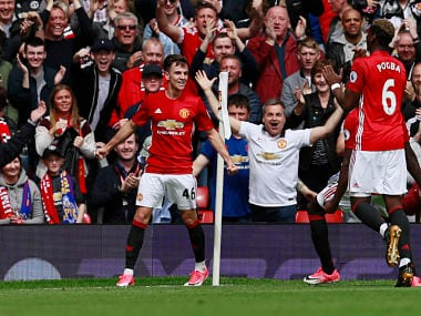 "Britain Football Soccer - Manchester United v Crystal Palace - Premier League - Old Trafford - 21/5/17 Manchester United's Josh Harrop celebrates scoring their first goal Action Images via Reuters / Jason Cairnduff Livepic EDITORIAL USE ONLY. No use with unauthorized audio, video, data, fixture lists, club/league logos or ""live"" services. Online in-match use limited to 45 images, no video emulation. No use in betting, games or single club/league/player publications. Please contact your account representative for further details. - RTX36U8M"