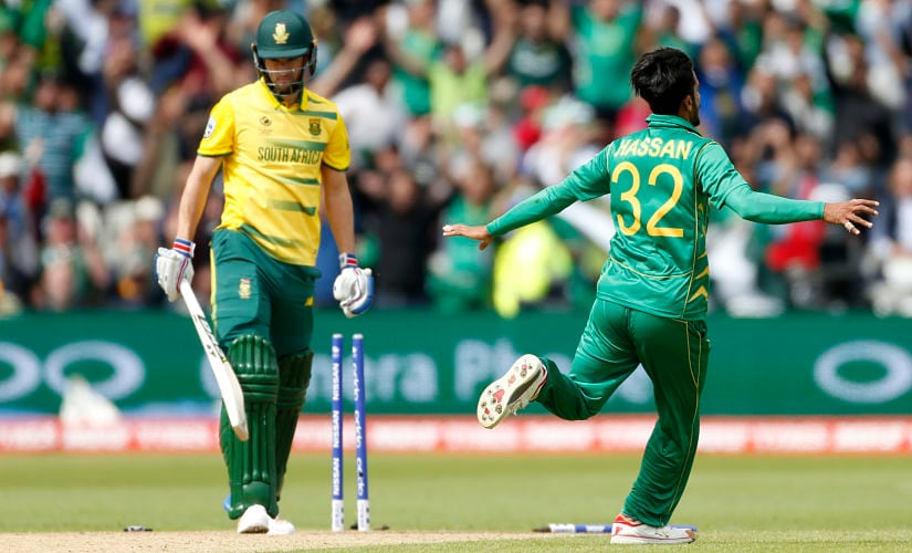 South Africa's Wayne Parnell is bowled out by Pakistan's Hasan Ali. Reuters
