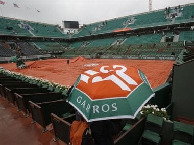 Rain could disrupt tennis action at the French Open on Tuesday. AP