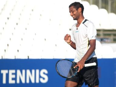 Ramkumar Ramanathan celebrates after his win over Dominic thiem. Image courtesy: Twitter/@AntalyaOpen