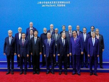 Leaders of SCO member countries at the Astana summit. PTI