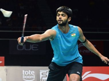 Sai Praneeth of India plays a shot against compatriot Srikanth Kidambi during the men's single finals of the Singapore Open badminton tournament in Singapore on April 16, 2017. / AFP PHOTO / TOH TING WEI