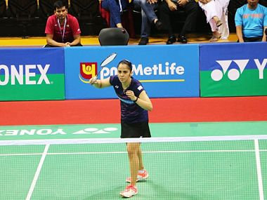India's Saina Nehwal during her first round match in Indonesia Open. Image courtesy: Twitter/@BAI_Media