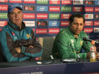 Pakistan's captain Sarfraz Ahmed, right, and Pakistan's head coach Mickey Arthur during a press conference at the Oval. AP