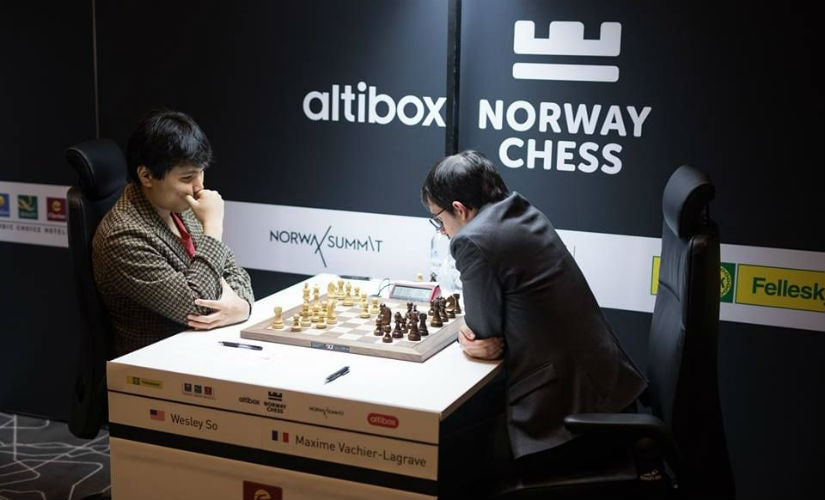 Wesley So and Maxime Vachier-Lagrave in action.