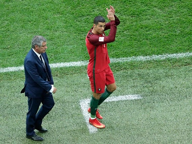 Portugal's Cristiano Ronaldo applauds fans as he walks off the pitch during the Confederations Cup, Group A soccer match between New Zealand and Portugal, at the St. Petersburg Stadium, Russia, Saturday, June 24, 2017. (AP Photo/Dmitri Lovetsky)