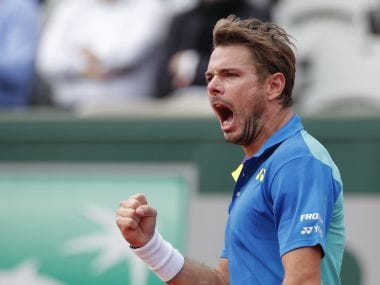 Stan Wawrinka reacts after he wins against Marin Cilic in their quarter-final match. AP