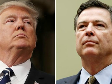 File images of Donald Trump and James Comey. Reuters