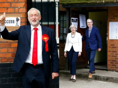 Jeremy Corbyn and Theresa May. AP