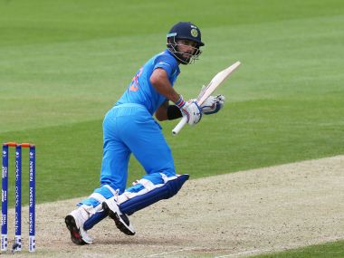 India's Virat Kohli in action during a Champions Trophy warm-up match against New Zealand May 28. AFP