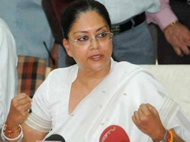 File image of Rajasthan chief minister Vasundhara Raje. Reuters