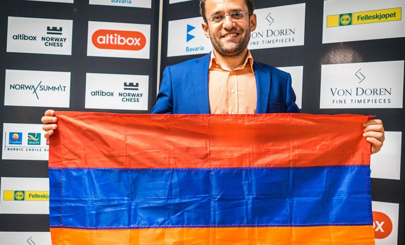 A proud Levon Aronian with the Armenian flag. Image courtesy Lennart Ootes.