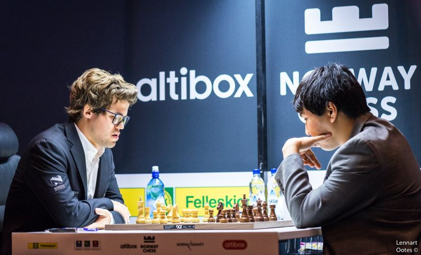 One of the most high-anticipated matches of the first round was the one between Magnus Carlsen and Wesley So. Image courtesy: Lennart Ootes