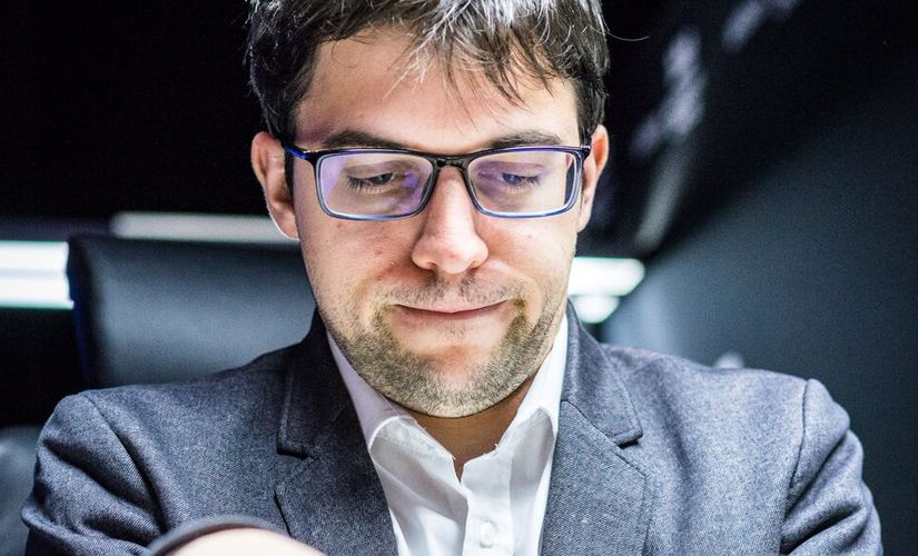 """""""You're gonna be fine, folks!"""" Maxime Vachier-Lagrave talking to his pieces? Image courtesy: Lennart Ootes"""