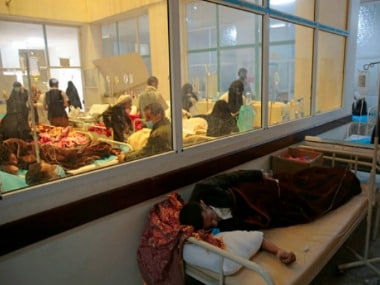 People being treated for cholera in Yemen. AP
