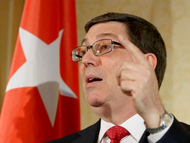 Cuban Foreign Minister Bruno Rodriguez Parilla addresses the media during a news conference in Vienna, Austria on Monday. AP