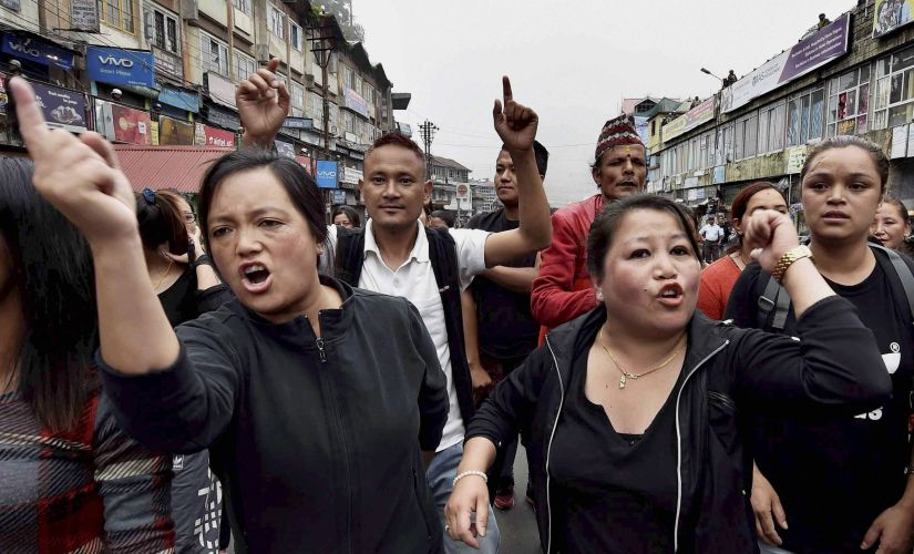 Activists of GJM take out rally in Darjeeling on Sunday. PTI