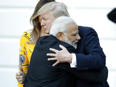 Prime Minister Narendra Modi with US President Donald Trump at White House on Monday. AP