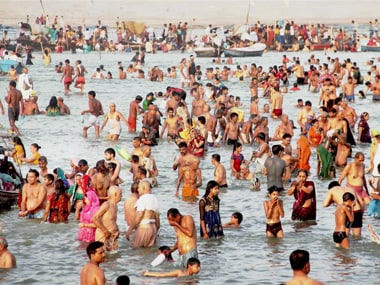 Devotees taking holy dip in river Ganges on the occasions of Ganga Dussehra festival at Sangam, in Allahabad on Sunday. PTI