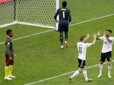 Germany's Timo Werner (L) and Kerem Demirbay celebrate a goal during the Confederations Cup match against Cameroon. AP