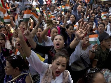 File image of protesters demanding the creation of separate state of Gorkhaland. PTI