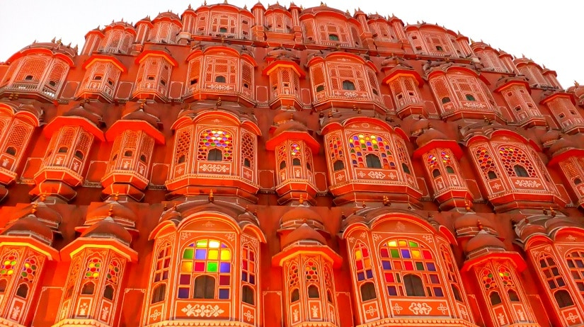 Hawa Mahal, Jaipur lit up at night.
