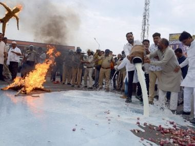 Congress workers in Jabalpur burn effigy of Prime Minister Narendra Modi and chief minister Shivraj Singh Chouhan against the killing of farmers spill milk down the road on Sunday. PTI
