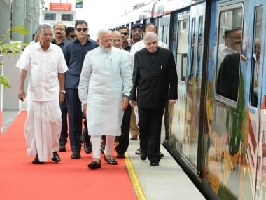 Narendra Modi with Kerala chief minister and other dignitaries at the launch of Kochi Metro on Saturday. Twitter @CMOKerala