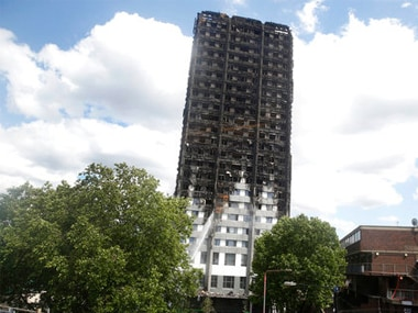 File image of the charred Grenfell Tower in London. AP