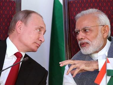 Russian president Vladimir Putin with Prime Minister Narendra Modi. Getty Images