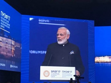 Prime Minister Narendra Modi speaking at SPIEF. Twitter/@PMOIndia