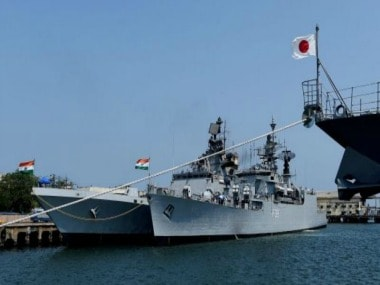 Indian and Japanese navy participating in a joint exercise. PTI