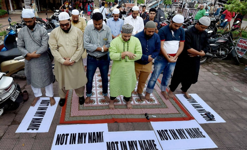 Kolkata: Muslims offer prayers as they participate in a protest against the targeted lynching, in Kolkata on Wednesday. PTI