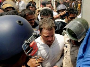 File image of Congress vice president Rahul Gandhi's visit to Mandsaur during the Madhya Pradesh farmers' protest.  PTI