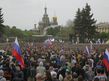 Demonstrators take part in an anti-corruption protest in central St. Petersburg.Reuters