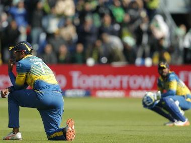 Dejected Sri Lankan players during their Champions Trophy 2017 match against Pakistan. Reuters