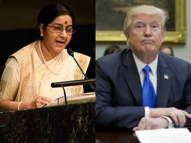 Sushma Swaraj and Donald Trump. Agencies
